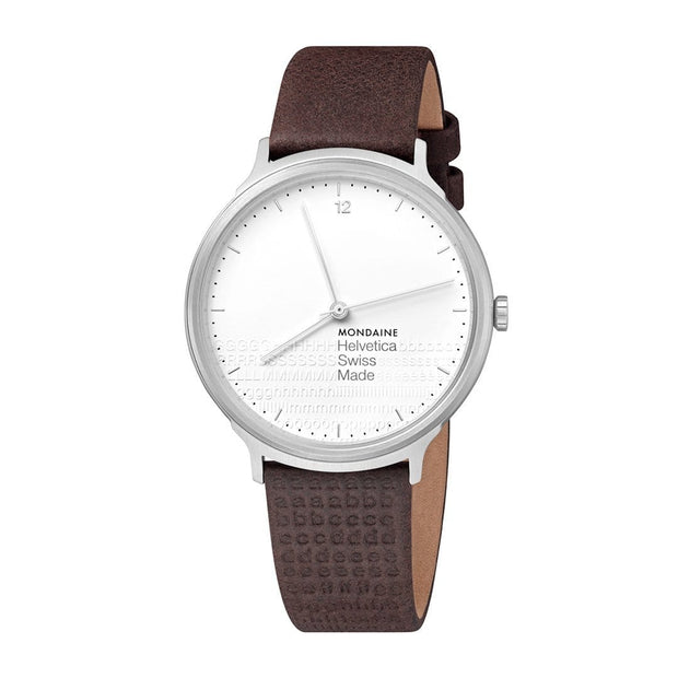 Helvetica Light, 38 mm, minimalist black leather watch, MH1.L2110.LG