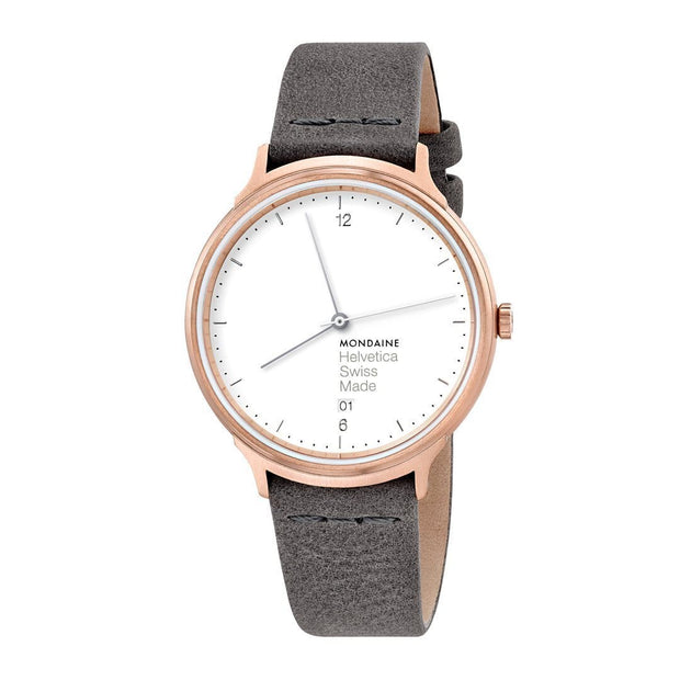 Helvetica Light, 38 mm, minimalist leather watch, MH1.L2210.LH