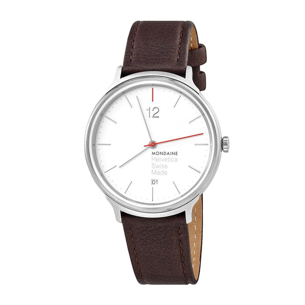 Helvetica Light, 38 mm, minimalist leather watch, MH1.L2212.LG
