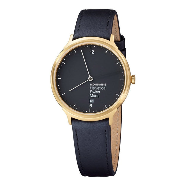 Helvetica Light, 38 mm, minimalist leather watch, MH1.L2221.LB