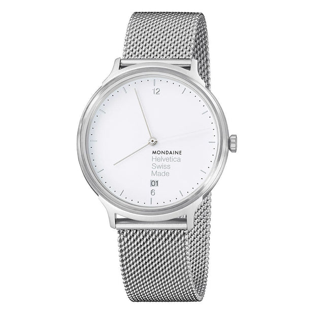 Helvetica Light, 38 mm, minimalist stainless steel watch, MH1.L2210.SM