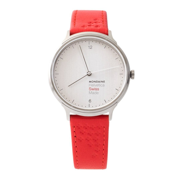 Helvetica Light, 38 mm, red leather watch, MH1.L2110.LC