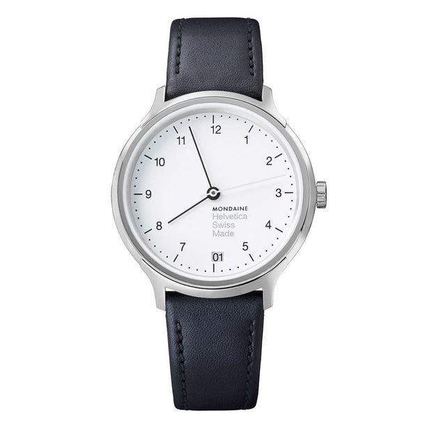 Helvetica Regular, 33 mm, black leather watch, MH1.R1210.LB,4