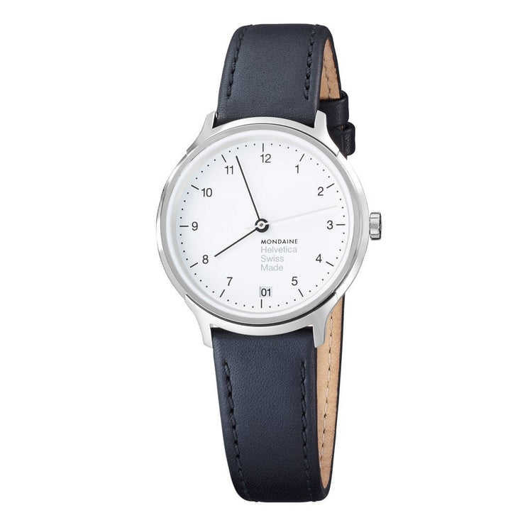 Helvetica Regular, 33 mm, black leather watch, MH1.R1210.LB