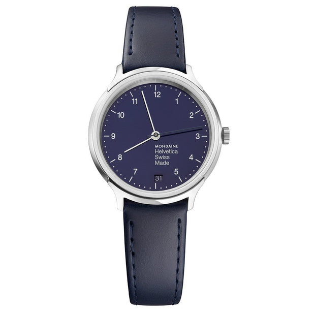 Helvetica Regular, 33 mm, blue leather watch, MH1.R1240.LD,4
