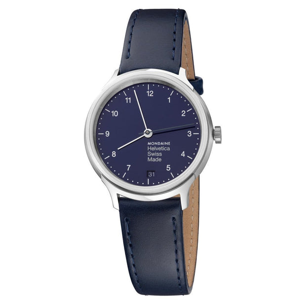 Helvetica Regular, 33 mm, blue leather watch, MH1.R1240.LD