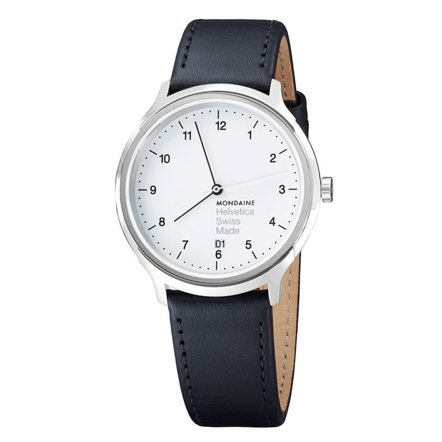 Helvetica Regular, 40 mm, black leather watch, MH1.R2210.LB,2