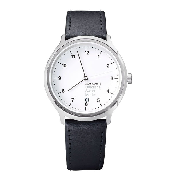 Helvetica Regular, 40 mm, black leather watch, MH1.R2210.LB