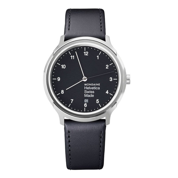 Helvetica Regular, 40 mm, black leather watch, MH1.R2220.LB