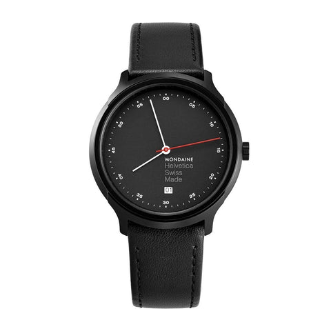 Helvetica Regular, 40 mm, black leather watch, MH1.R2223.LB,5