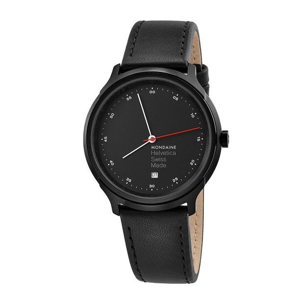 Helvetica Regular, 40 mm, black leather watch, MH1.R2223.LB