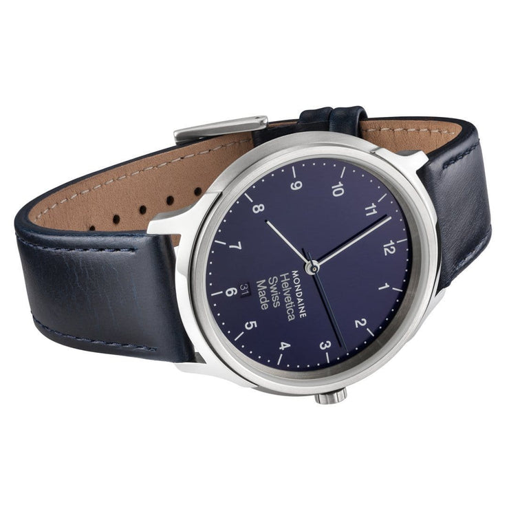 Helvetica Regular, 40 mm, blue leather watch, MH1.R2240.LD,5