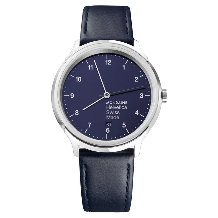 Helvetica Regular, 40 mm, blue leather watch, MH1.R2240.LD,6