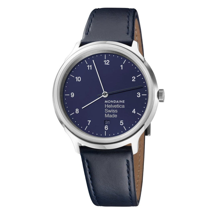 Helvetica Regular, 40 mm, blue leather watch, MH1.R2240.LD