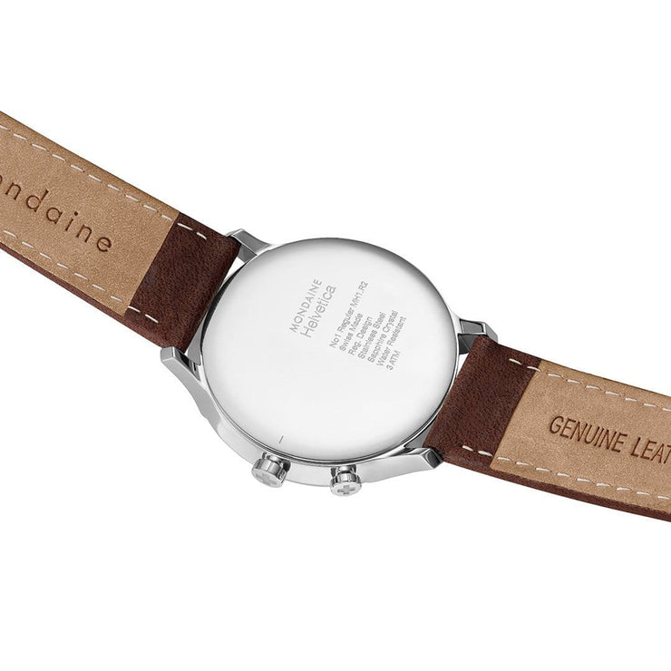 Helvetica Regular, 40 mm, brown leather watch, MH1.R2010.LG,3