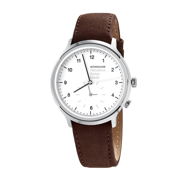 Helvetica Regular, 40 mm, brown leather watch, MH1.R2010.LG