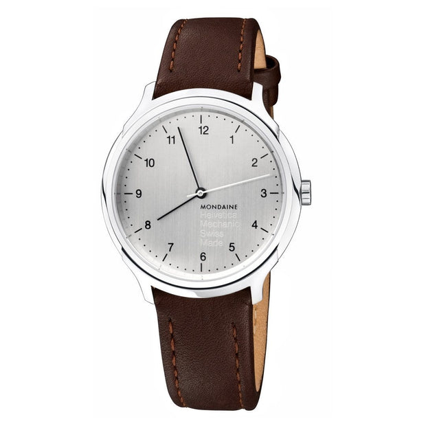 Helvetica Regular, 40 mm, brown leather watch, MH1.R3610.LG
