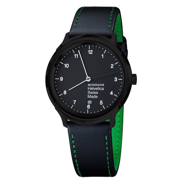Helvetica Regular, 40 mm, minimalist black leather, MH1.R2221.LB