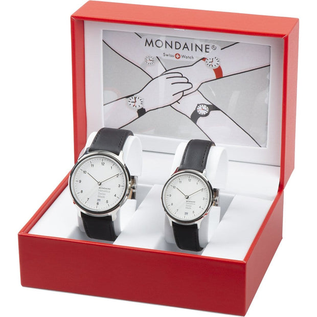 Helvetica Regular set, 33 and 40 mm, his and her black leather watches,2