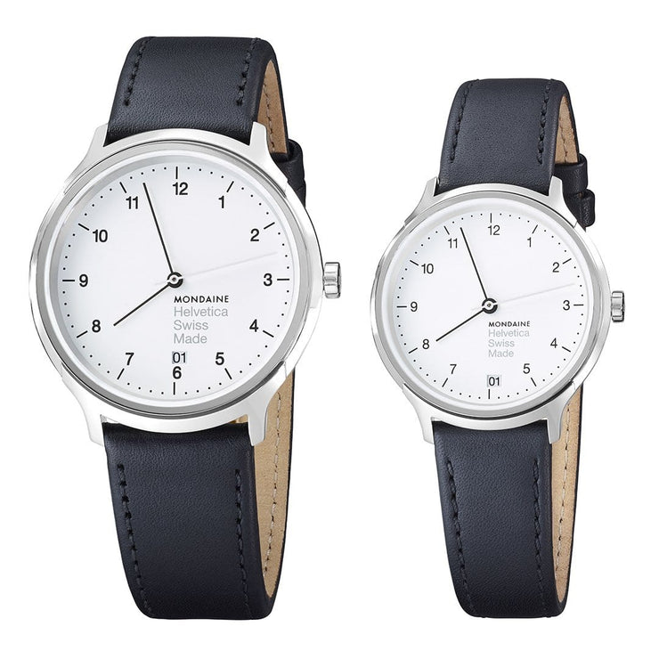 Helvetica Regular set, 33 and 40 mm, his and her black leather watches