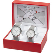 Helvetica Regular set, 33 and 40 mm, his and her stainlees steel watches,2