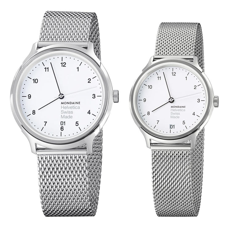 Helvetica Regular set, 33 and 40 mm, his and her stainlees steel watches