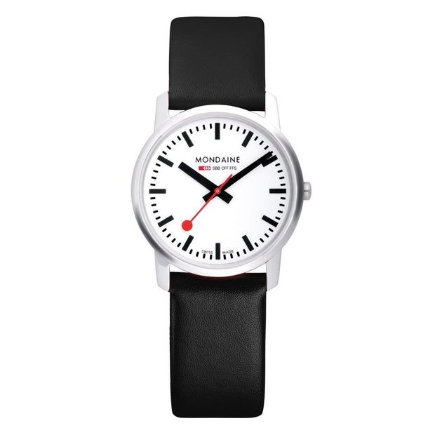 Simply Elegant, 41 mm, black leather watch, A638.30350.11SBB