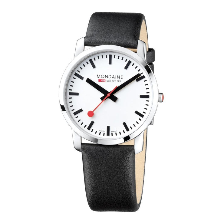 Simply Elegant, 41 mm, black leather watch, A638.30350.11SBB,4