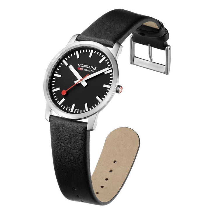 Simply Elegant, 41 mm, black leather watch, A638.30350.14SBB,3