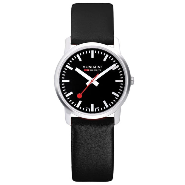 Simply Elegant, 41 mm, black leather watch, A638.30350.14SBB