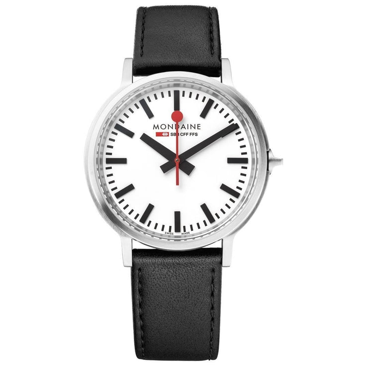 Stop2Go, 41 mm, black leather watch, MST.4101B.LB,3