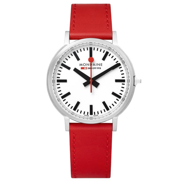 Stop2Go, 41 mm, red leather watch, MST.4101B.LC,2