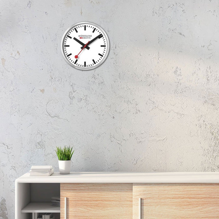 Wall clock, 25 cm, silver kitchen clock, A990.CLOCK.16SBB,1