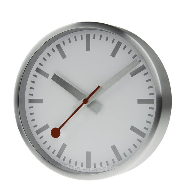 Wall clock, 25 cm, silver kitchen clock, A990.CLOCK.17SBV