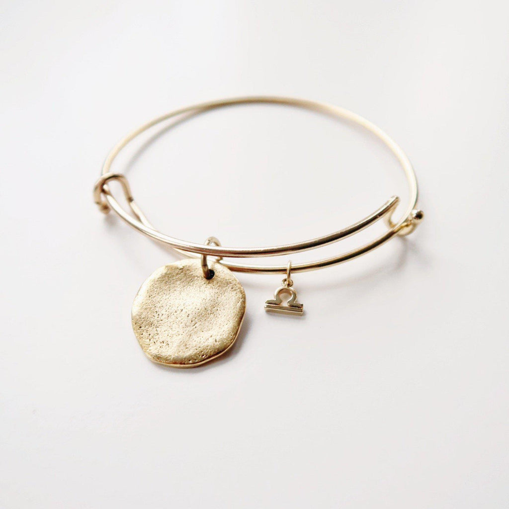 Hammered Disc and Zodiac Charm Bangle