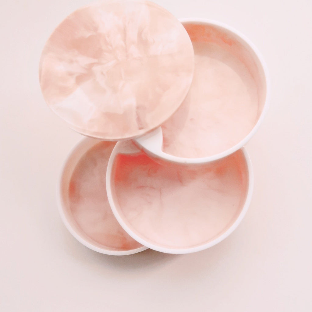 3-Tier Marble Jewelry Container in Peach