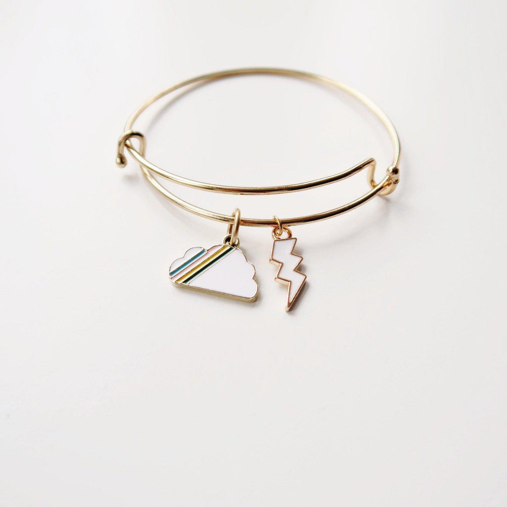 Rainbow Cloud and Lightning Charm Bangle
