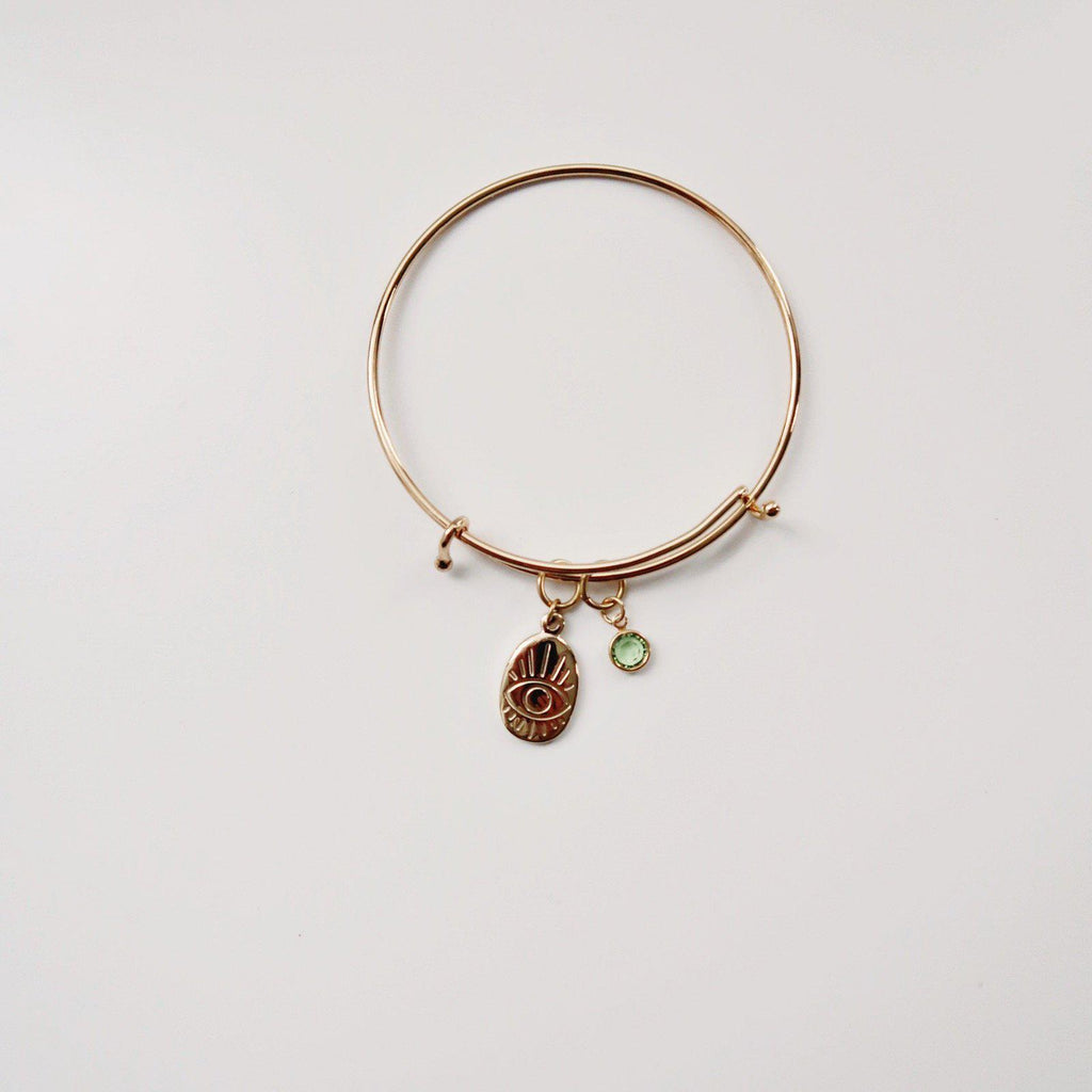 Evil Eye with Birthstone Charm bangle