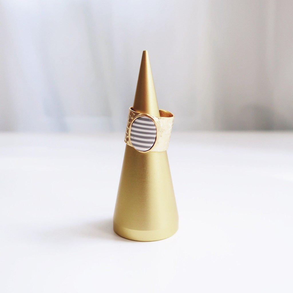 Grey and White Striped Hammered Gold Plated Brass Ring - Emylee Says