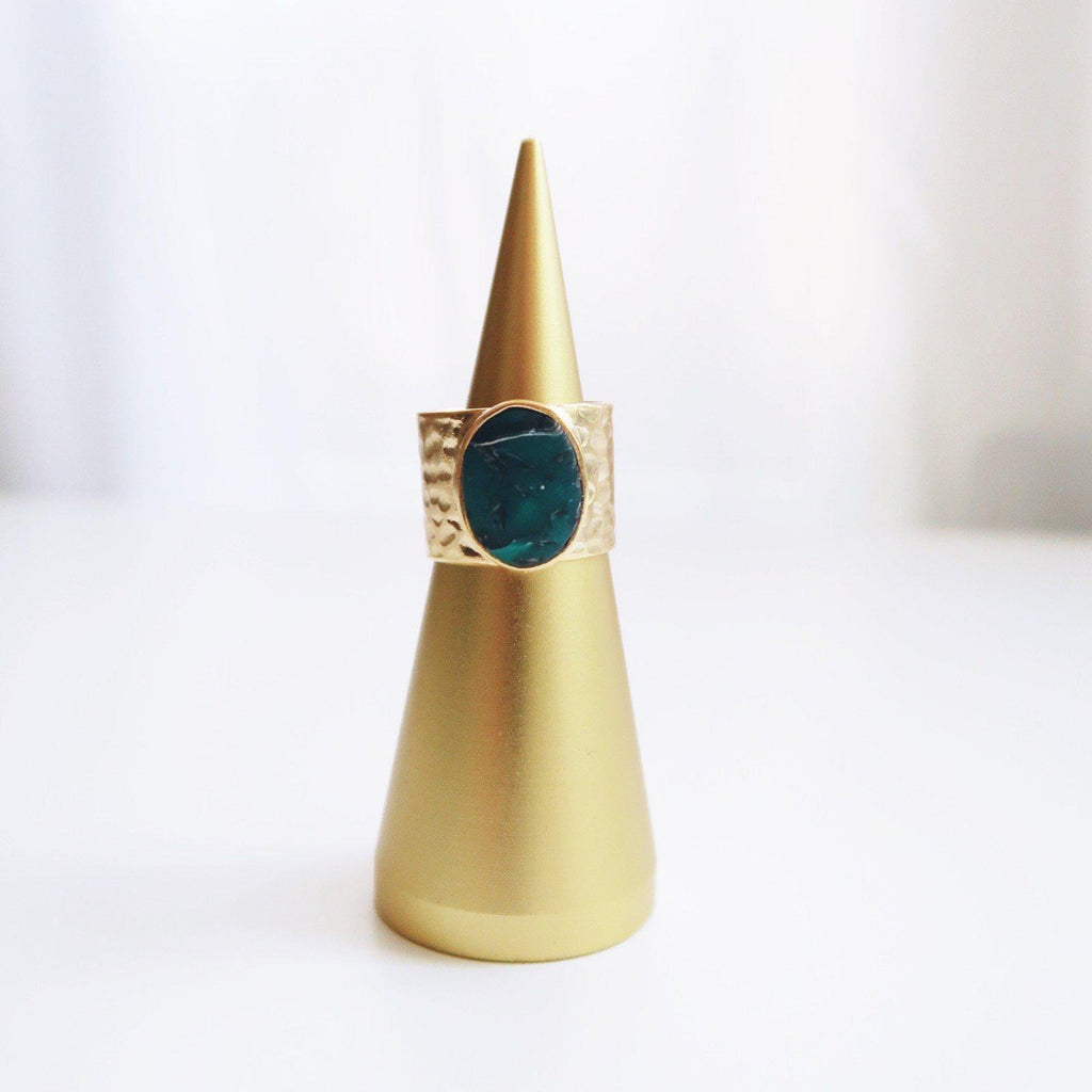 Turquoise Hammered Gold Plated Brass Ring - Emylee Says