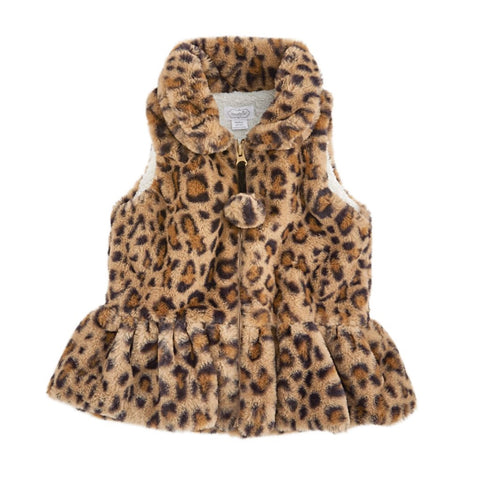 Brown Faux Leopard Vest