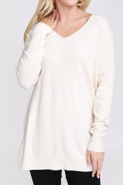 V-Neck Loose Fit Tunic Sweater Lilac