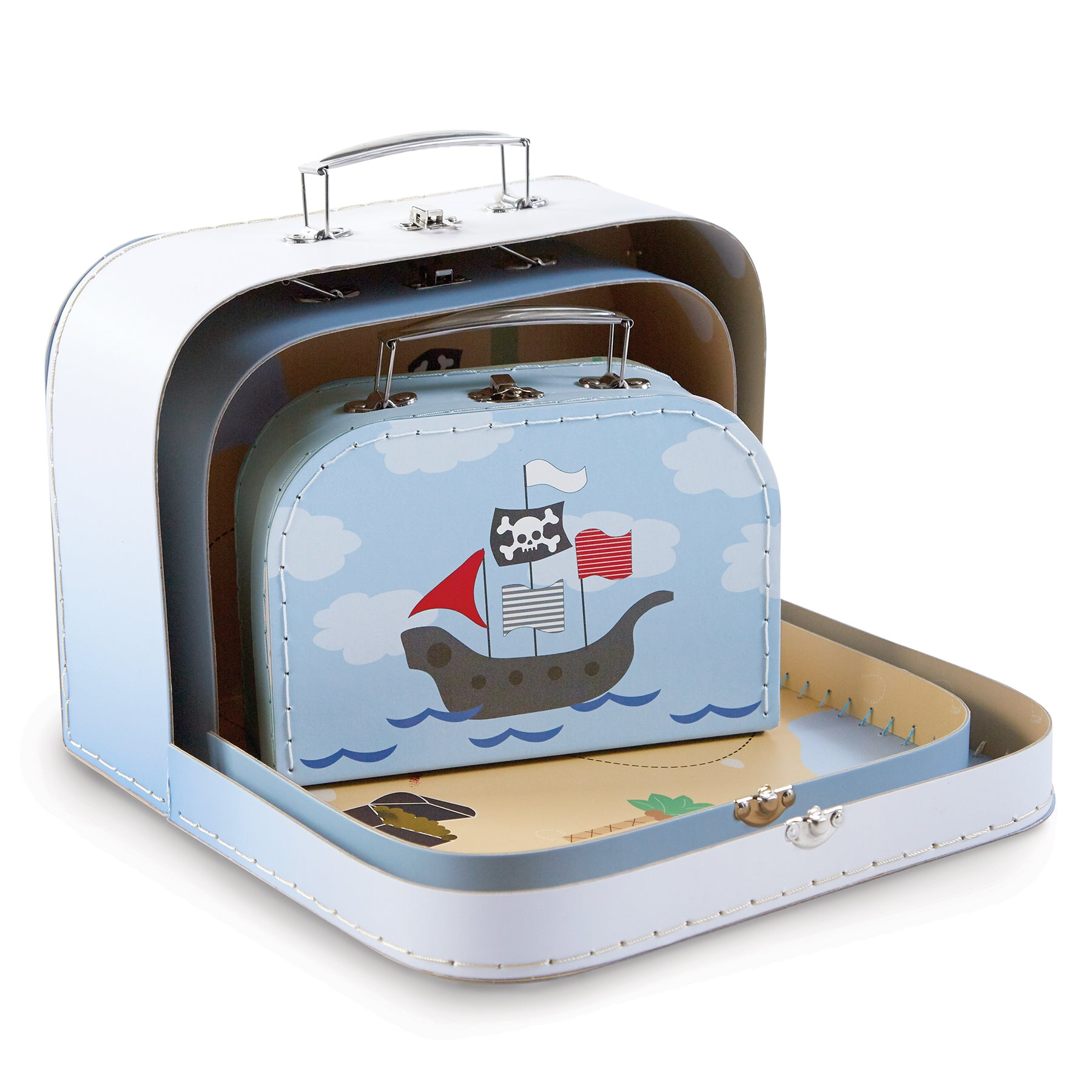 Printed Pirate Nested Suitcase Set