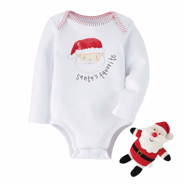 Christmas Holiday Bodysuit and Rattle Gift Set