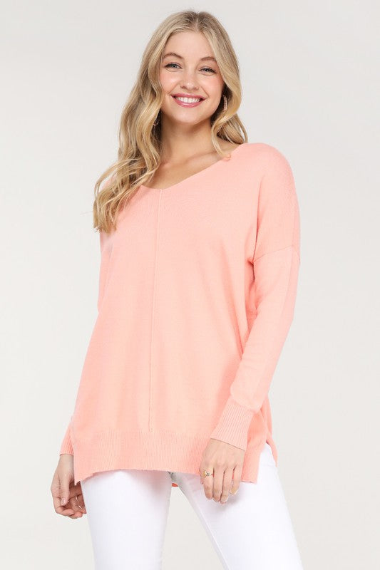 Crew Neck Loose Fit Tunic Sweater Salmon