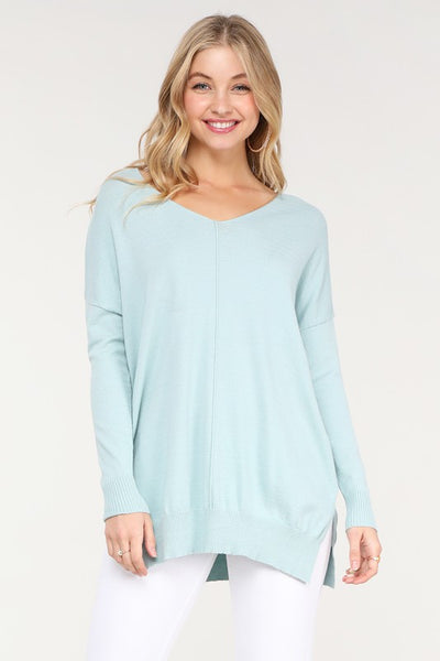 V-Neck Loose Fit Tunic Sweater Mineral Blue