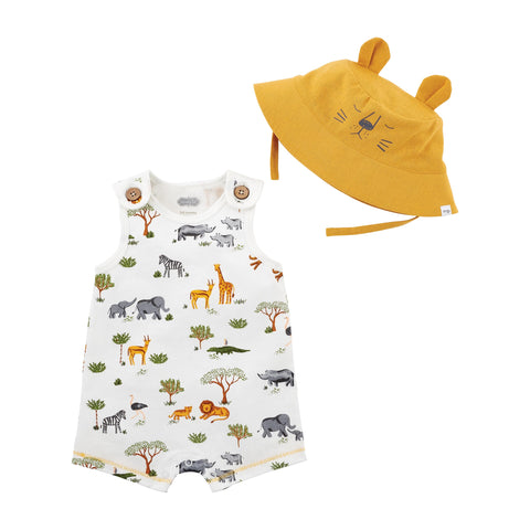 Safari Baby Romper and Hat Set