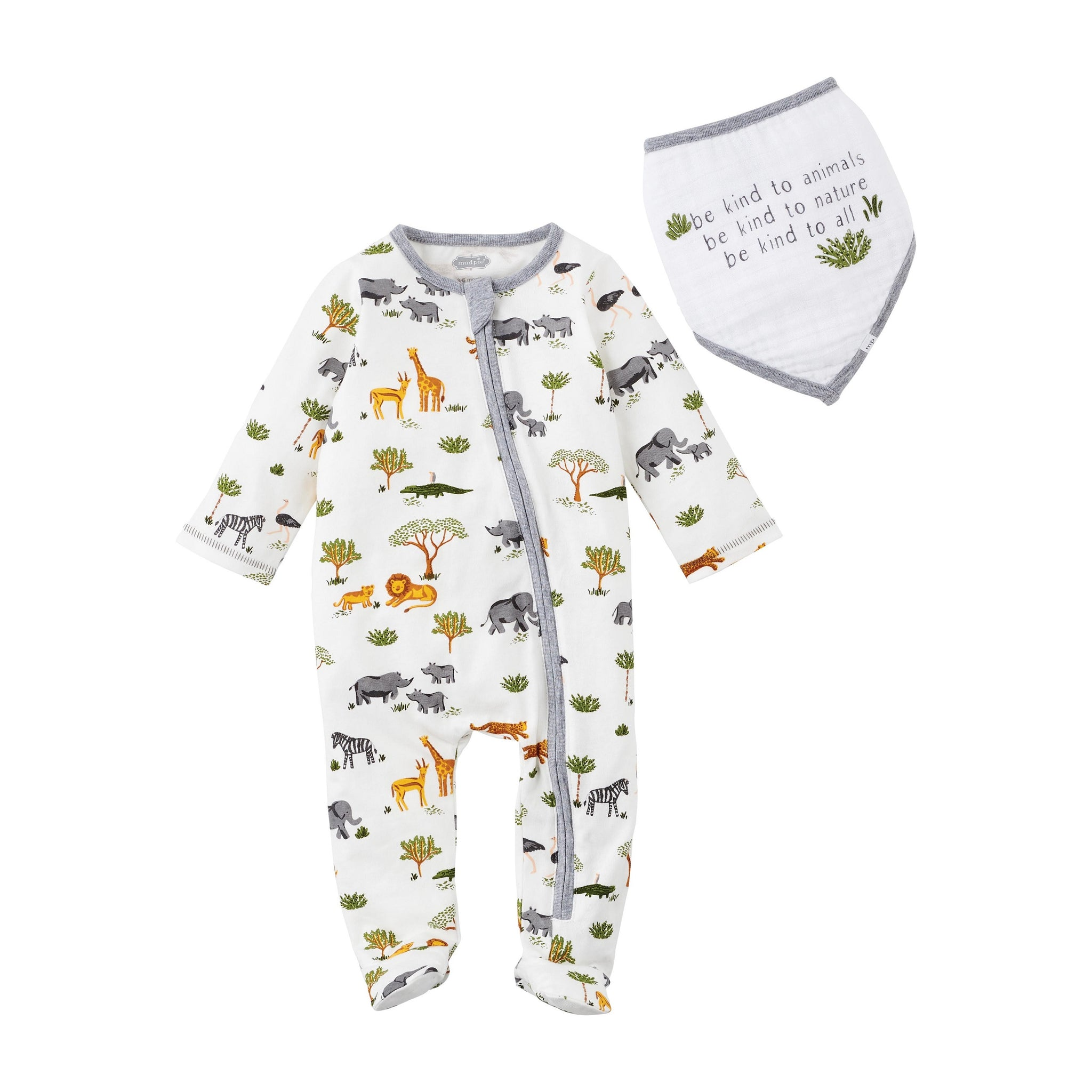 Safari Baby Sleeper and Bib Set