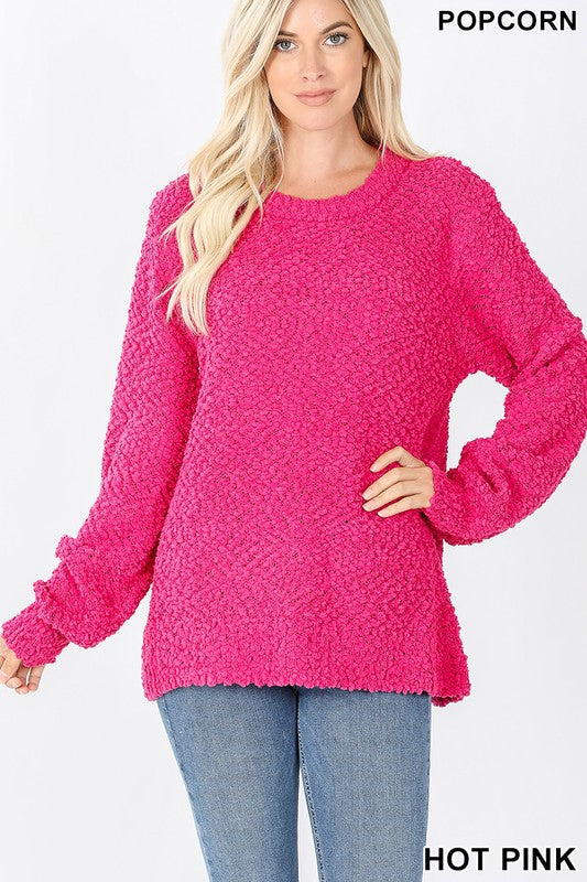 Popcorn Crew Sweater Bubble Sleeve Hot Pink