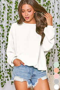Thermal Knit Loose Fit Sweatshirt Ivory